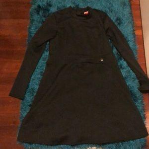 50s inspired black long sleeve dress